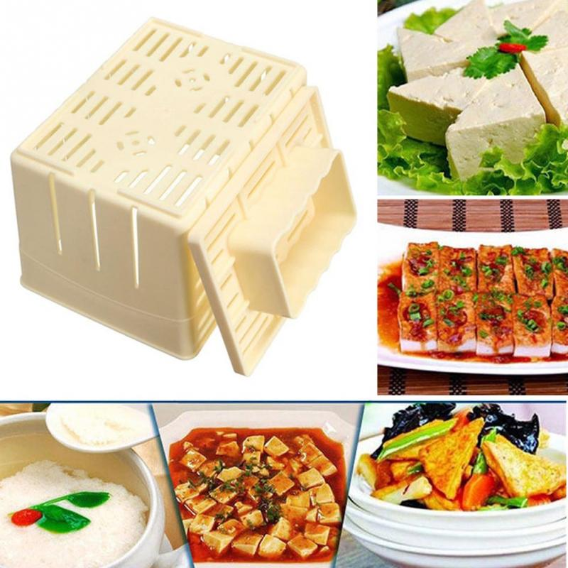 500g Capacity DIY <font><b>Plastic</b></font> Tofu Press <font><b>Mould</b></font> Homemade Soybean Curd Making Mold with <font><b>Cheese</b></font> Cloth Kitchen Cooking Tool Set #1029 image