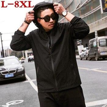 8xl 7xl  2019 New Spring Autumn Bomber Hooded  Jacket Men Casual Slim Patchwork Windbreaker Jacket Male Outwear Zipper Thin Coat