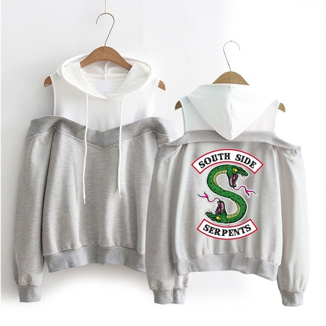 RIVERDALE SOUTH SIDE SERPENTS OFF SHOULDER HOODIE (3 VARIAN)