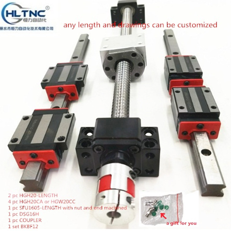 2 pc HGH20-1250mm+1 SET SFU1605+4 hgw20cc Linear guide High assembly square load ball screw linear motion module