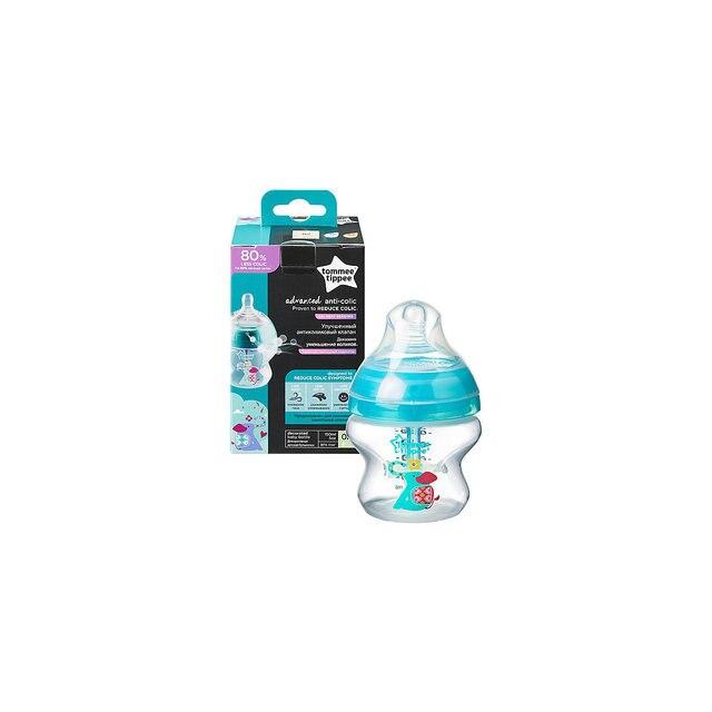 Бутылочка для кормления Tommee Tippee Advanced с усиленным антиколиковым клапаном и индикатором температуры, 150 мл, би