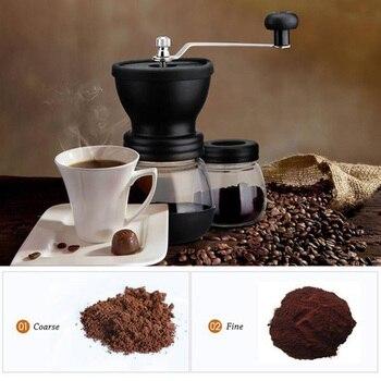 Moedor De Café Manual Com Rebarbas Cerâmicas, Moinho De Café Da Mão Com Dois Frascos De Vidro Escova E Colher De Sopa