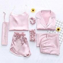 2019 קיץ נשים 7 חתיכות משי פיג מה סאטן פיג סט הלבשת סקסי פיג מה Nightsuit שינה נשי Loungewear