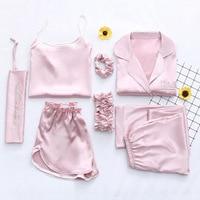 7 Pieces Pyjamas Set Sexy Female Sleep Lounge Pijama Nightsuit Sleepwear Pajamas Satin Silk 2019 Summer Women