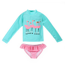 AmzBarley 2-piece set kids swimwear long sleeve Flamingo printed+pant suit high collar swimsuit beach wear toddler