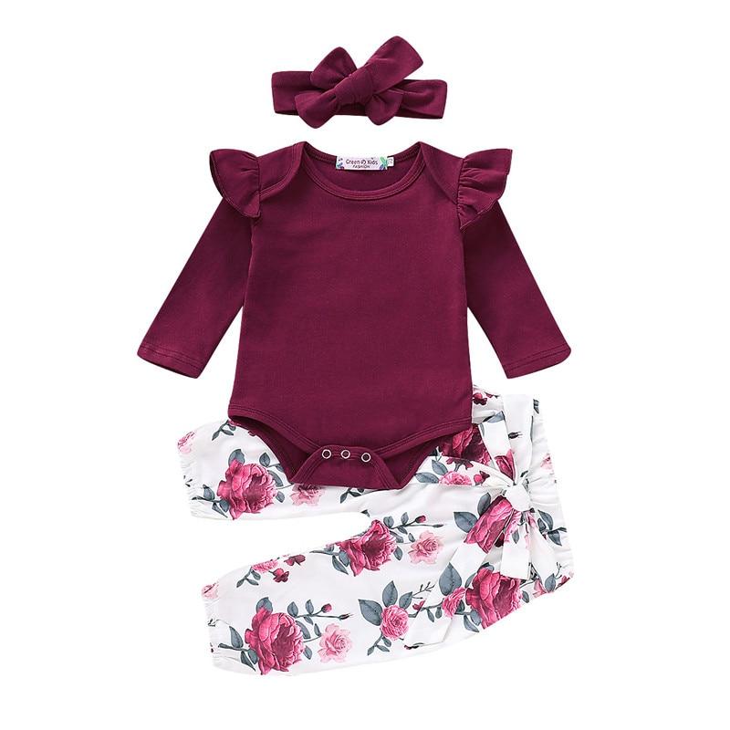 Floral Da Menina Do Bebê Roupas de Manga Longa Outono Inverno Recém-nascidos Roupa Para A Menina Ocasional Da Cópia Da Flor Menina Infantil Vestuário Set D25