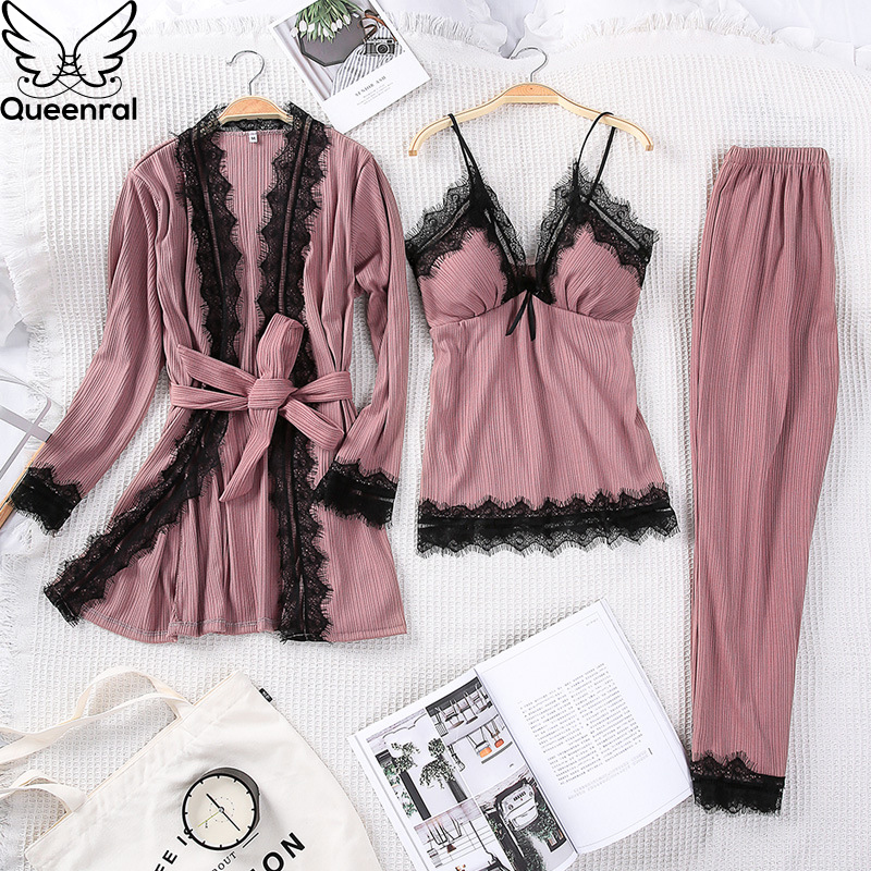 Queenral 3PCS Pyjama Femme Long Sleeve Pijama  For Women Sleepwear Set Cotton Home Clothes Pajamas Sets Sexy Lace Robe Pajamas