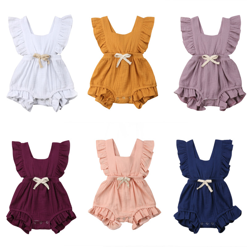 2019 Summer Newborn Toddler Baby Girls Clothes Solid Color Ruffle   Romper   Jumpsuit Playsuit Casual Infant Baby Girls Clothing