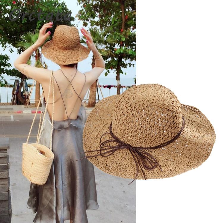 Zielsetzung Chic Panama Stroh Sun Hut Für Frauen Mode Handgemachte Faltbare Roll Up Hut Fedora Strand Breiter Krempe Visiere Hut Frauen Sommer Caps Sonnenhüte