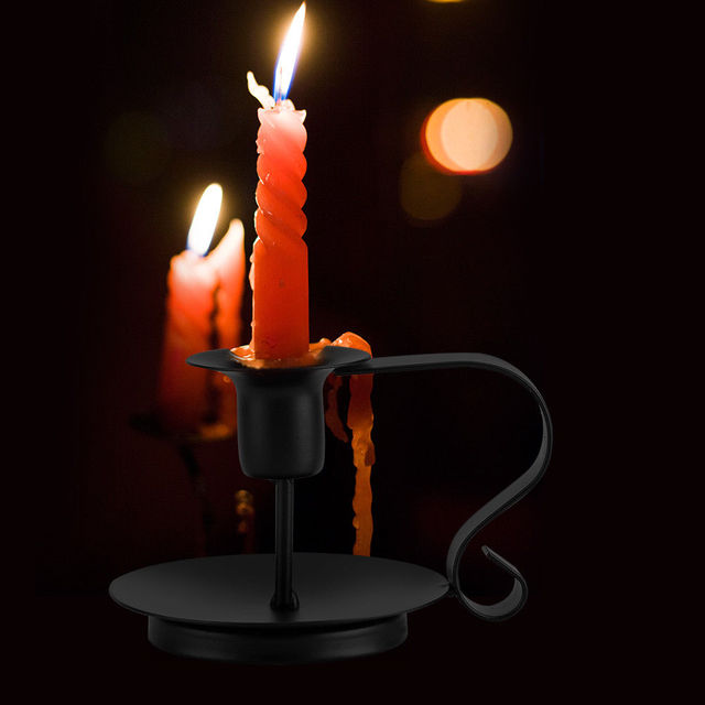 Candlestick Taper Candle Holder Anti rust Retro Iron Vintage Candelabrum Stand Candlelight Dinner Party kitchen home Decoration 2