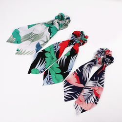 Bohemian Women's Floral Print Long Streamers Scrunchie Bow Hair Rope Ties Scarf Elastic Ribbon Hair Bands Girls Hair Accessories