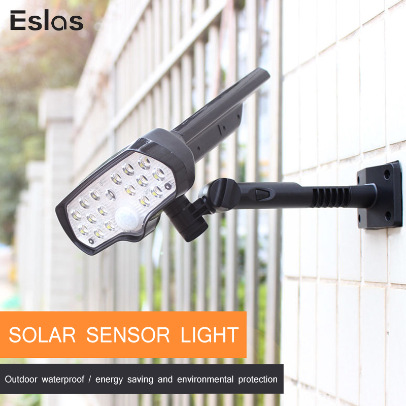 Eslas LED lumière solaire PIR capteur de mouvement 800LM Super lumineux lampe solaire IP65 étanche solaire alimenté pour lampe murale de jardin en plein air