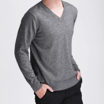 Mans Cashmere Wool Sweaters JECH 2018 Spring Winter V-Neck Long Sleeve Slim Pullovers High Quality Knitwear Plus Size S-XXXL