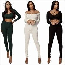 цена на Cotton Women Crop Top Trousers 2 Two piece Set Sexy Skinny Long Sleeve Low Cut Tops Elastic High Waist Bodycon Pencil Pant Sets