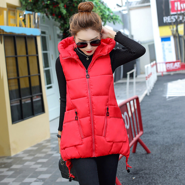 Winter Down Cotton Vest Women Red Gray Green Camouflage Hoodie Feather Waistcoat Long Paragraph Slim Warm Jacket colete feminino