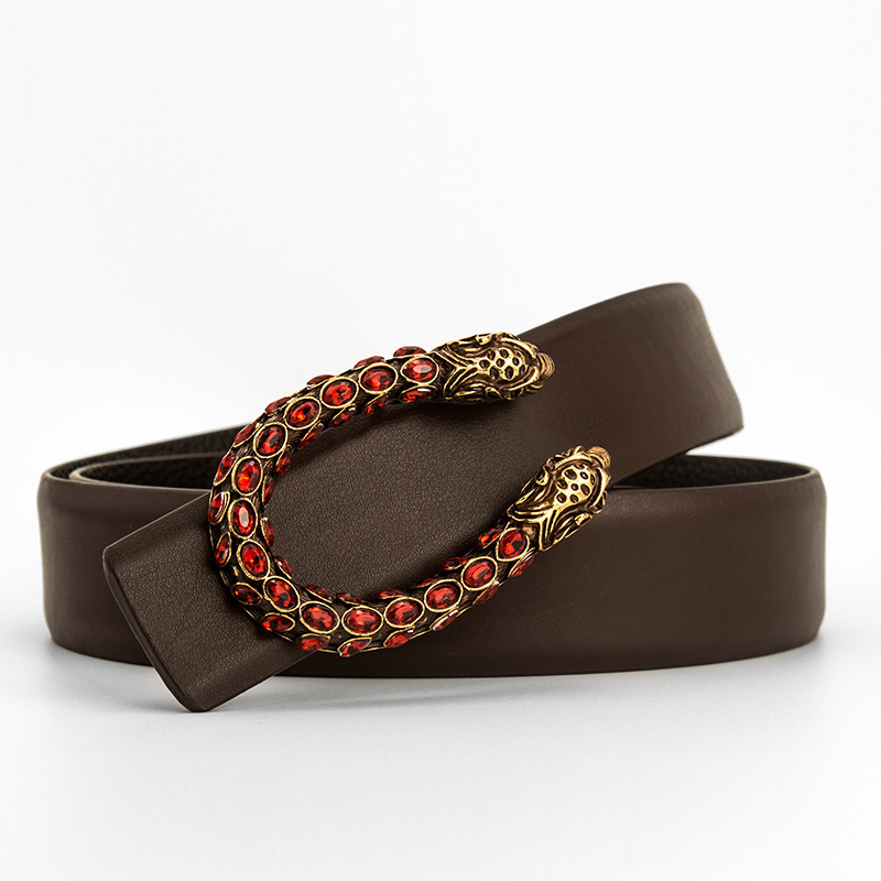 New Designer Luxury Brand Belts For Men Genuine Leather Belts Women Tiger Head Water Drill Copper Buckle Cowhide Belt For Jeans