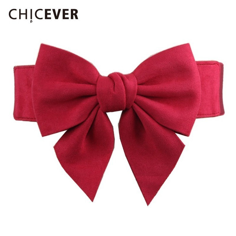 CHICEVER Bow Elastic Corset For Women Wide Belts Black Fashion Sweet High Waist Female Belt Accessories Korean Fashion Tide 2019