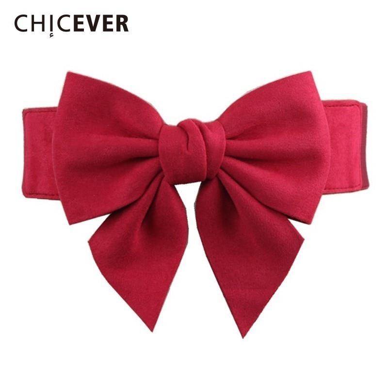 CHICEVER Bow Elastic Corset For Women Wide Belts Black Fashion Sweet High Waist Female Belt Accessories Korean Fashion Tide 2020