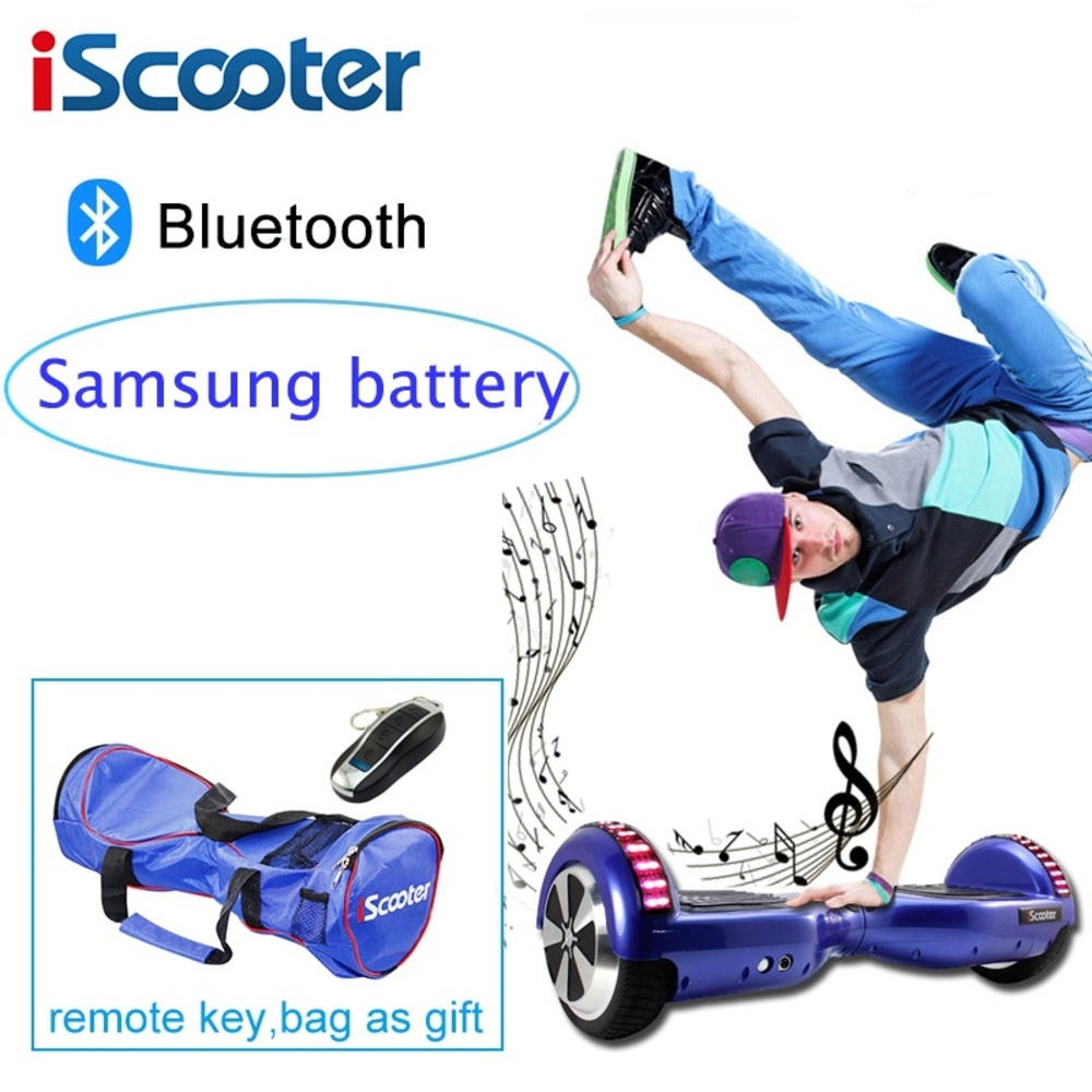 Samsung Battery Iscooter Hoverboard Bluetooth Electric Skateboard Steering-wheel Smart 2 Wheel Self Balance Standing Scooter