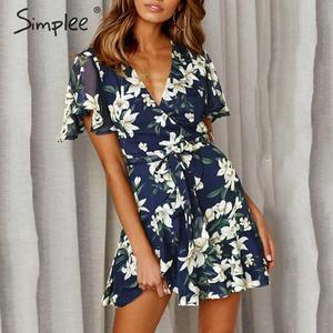 Image 3 - Simplee Boho çiçek baskı kadın artı boyutu kısa elbise Sashes fırfır tatil mini plaj elbiseleri Yaz zarif beyaz sundress