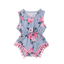 Fashion Newborn Infant Kids Baby Cute Girl Outfit Floral Striped Bodysuit Clothes Baby Girl Bodysuits Summer O-neck Sleeveless(China)