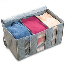 Bamboo Charcoal Can Perspective Three Grid Travel Clothing Closet Organizer Daily Use Arrangement Box Accept Storage Bag