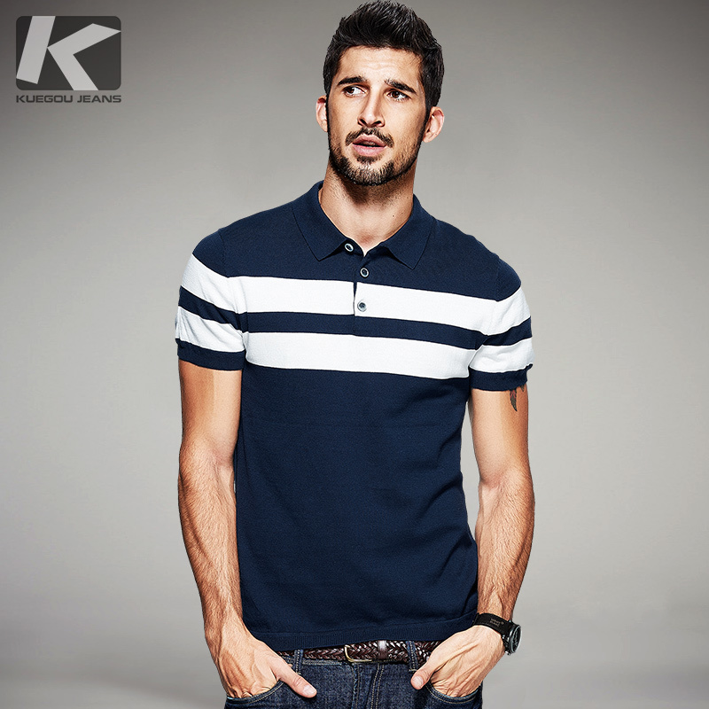 KUEGOU New Summer Mens Strikkede Polo skjorter 100% Cotton Striped Blue Brand Clothing Menns Slitasje Short Sleeve Slim Clothing 16972