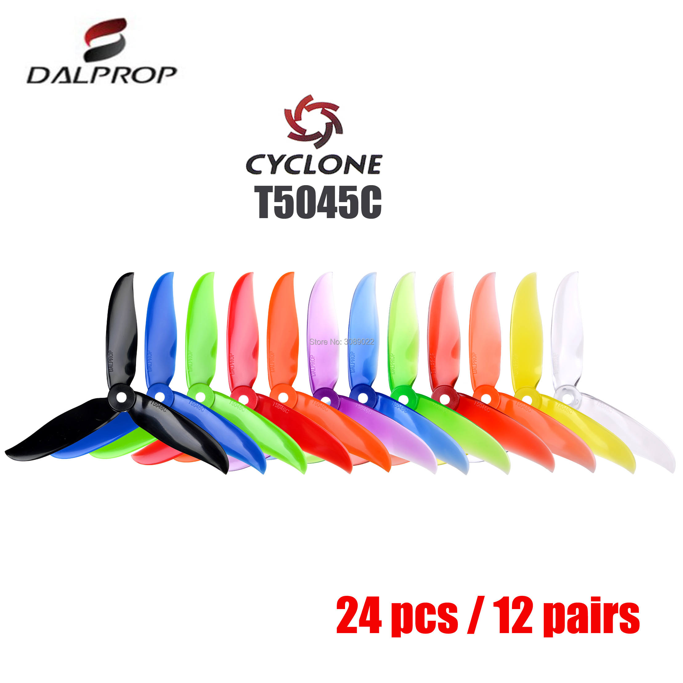 24 pcs / 12 pair DALPROP CYCLONE T5045C T5045BN 5045 3Blade propeller for T-Motor motor FPV Freestyle Drone Quadcopter Chameleon(China)