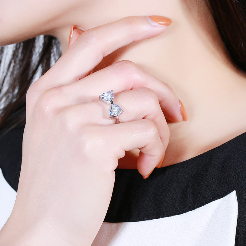 Strollgirl Hot sale 925 Sterling Silver Sparkling Bow Knot Stackable Ring Bezel Pave CZ for Women Valentine 39 s Day Gift Jewelry in Wedding Bands from Jewelry amp Accessories