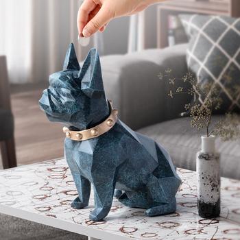 Śliczne skarbonka box skarbonka żywica figurka psa dekoracje domu pojemnik na monety uchwyt zabawka dziecko prezent skarbonka pies dla dzieci tanie i dobre opinie Homexw CP-18046 Żywica Prostokąt