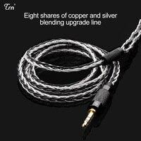 8 Core посеребренный кабель Mmcx/2pin Hifi Разъем для наушников Применение для Trn V10/v20/v60 V80 Kz Знч As10 Zs10 Cca C10