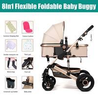 25KG Four Wheels Stroller Bassinet Baby Stroller Pram Kid Newborn Jogger Reversible Pushchair Khaki
