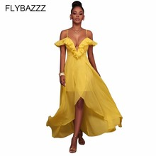 Hot Women Boho Backless Sleeveless Long Dress Sexy Yellow V Neck Off Shoulder Beach Dresses Elegant Evening Party Beach Sundress women 2019 summer polka dot vintage dress sexy deep v neck sleeveless party sundress elegant casual belt beach dress plus size