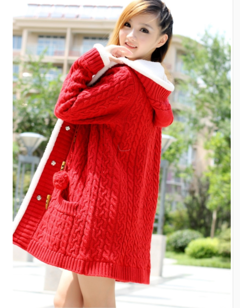 New Arrival Girl Sweater Coat Winter  Autumn Casual Solid Hooded Long Thicker Cashmere Knit Cardigan Sweater Jacket Students