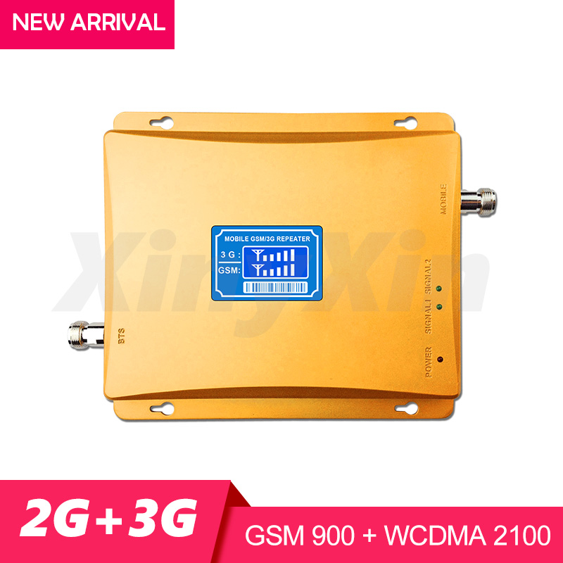 LCD 3G WCDMA 2100MHz GSM 900Mhz Dual Band Mobile Phone Signal Booster GSM 900 3G UMTS 2100 Cellular Signal Amplifier Repeater