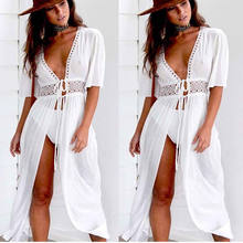 Sexy Ladies Women Solid White Bikini Cover up Beach Dress Swimwear Chiffon Beachwear Bathing Suit Summer Holiday Kimono Cardigan(China)