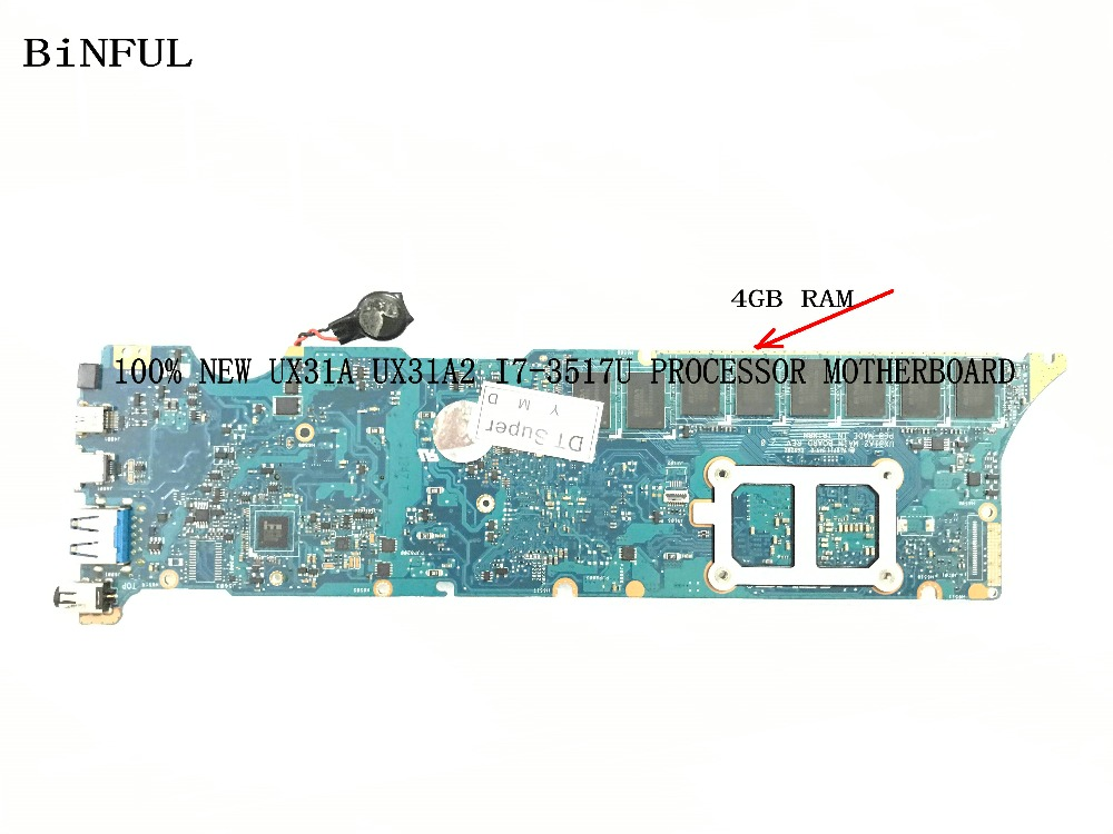 BiNFUL AVAILABLE 100% NEW UX31A2 REV : 2.0 MAIN BOARD LAPTOP MOTHERBOARD FOR ASUS ZENBOOK UX31A I7 3517U 4GB RAM