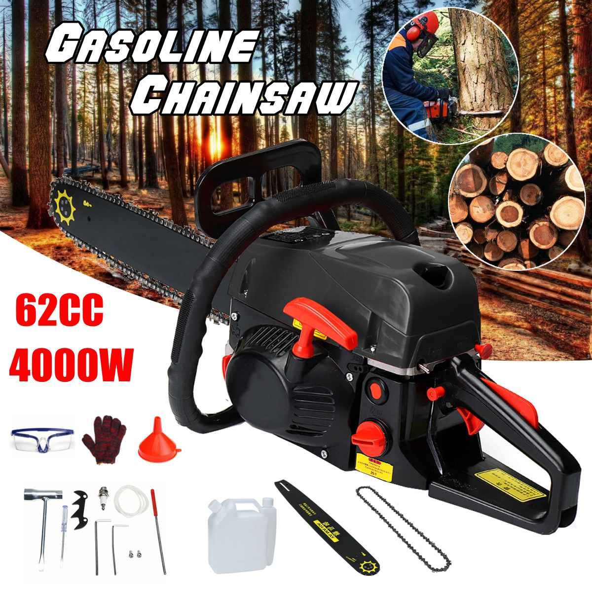 Professional Chainsaw 20 4200W Bar Gas Gasoline Powered Chainsaw 62cc Engine Cycle Chain SawProfessional Chainsaw 20 4200W Bar Gas Gasoline Powered Chainsaw 62cc Engine Cycle Chain Saw