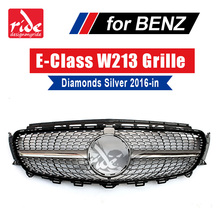 For Mercedes W213 Sports Diamond grille grill ABS Silver With Camera E-Class E200 E250 E300 E350 E400 E500 E550 E63 look 2016-18