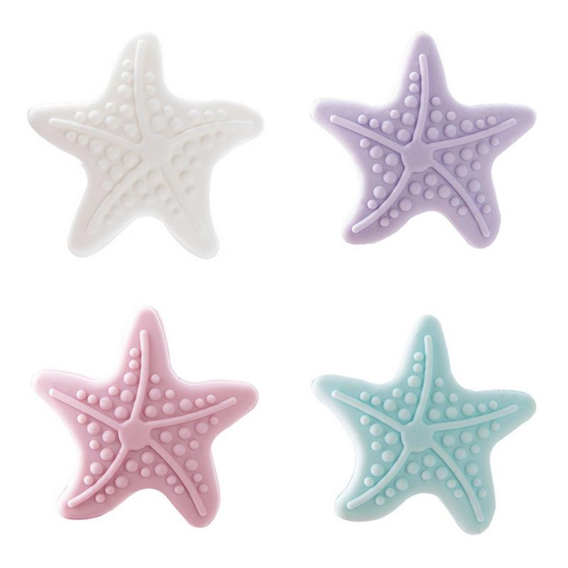 Starfish forma luminosa almofada de impacto maçaneta da porta bloqueio de choque almofada de impacto resistência dupla face cola sem costura branco azul rosa