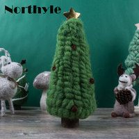 Northyle Wool Christmas Tree Figurine Christmas Gift Craft Miniature Vintage Home Decor Decoration Accessories Kid's Gift