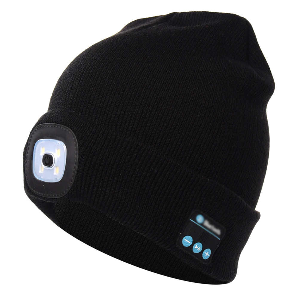 6dec8c8288e Detail Feedback Questions about USB Rechargeable LED Lighting Hat Bluetooth  Cap with Headlight Musical Speaker Wireless Winter Warm Knit Hat Outdoor  Beanie~ ...
