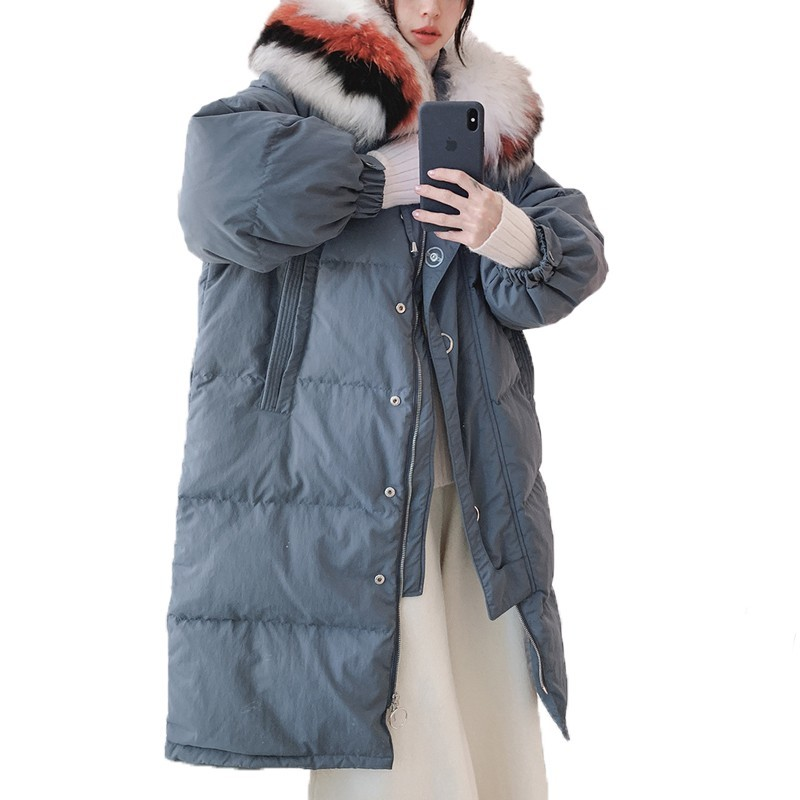 Plus Size 2018 Korean Style White Duck   Down     Coat   Female Snow Wear Outerwear Winter Long Woman Jacket   Coat   Women Clothes B224