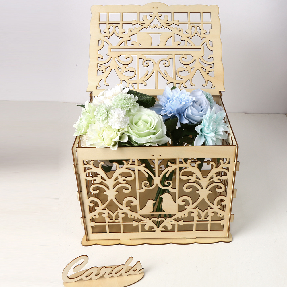 Box Wedding Card Party Supplies Creative Money Box Wooden Decoration With Lock Wood Accessory Birthday DIY