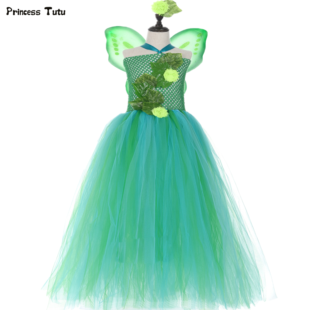 Green Garden Fairy Tutu Dress Flowers Leaves Fairies Jungle Theme Pageant Gown Kids Girls Birthday Party Dress Halloween Costume 1
