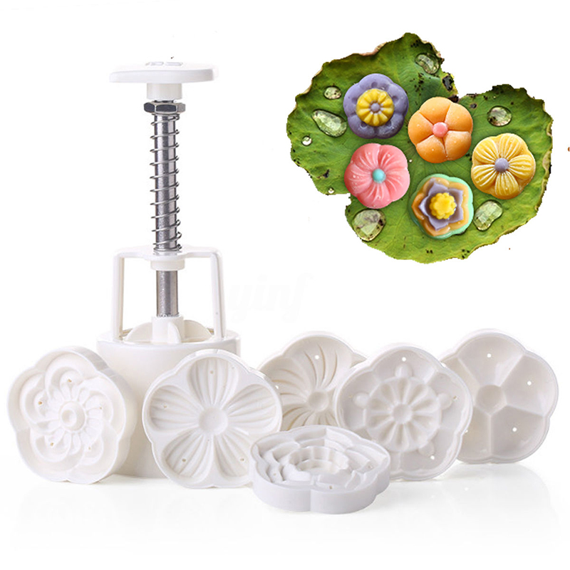 JX-LCLYL DIY 50g Moon Cake Mold W/6 Stamps Mid Autumn Festival Decoration Press