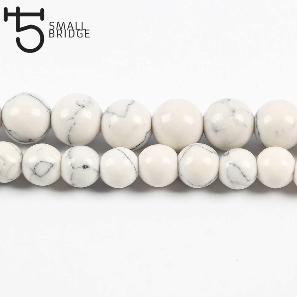 4 6 8 10 MM טבעי לבן Howlite טורקיז חרוזים עבור תכשיטי ביצוע צמיד Diy עגול אבן גדיל חרוזים סיטונאי s202