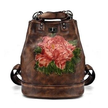 Genuine Leather Back pack Daypack Floral Shoulder Messenger Bag Travel Embossed Natural Skin Women Rucksack Knapsack