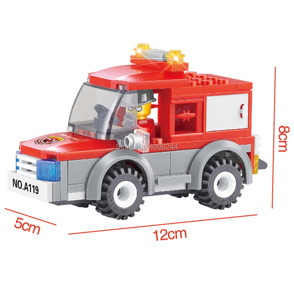 Model Building Blocks Sensible 22010 84pcs Fire Truck Modular Fireman Firefighter Car Building Blocks Bricks Toy