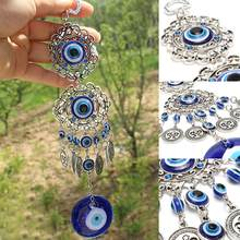 New Wind Chimes Turkey Evil Eye Pendants Amulet Home Wall Hanging Decor Blessing Protection Gift Dream Catcher Blue Rhinestone(China)